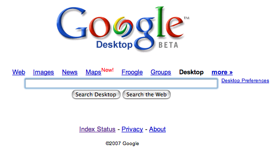 Google Desktop homepage
