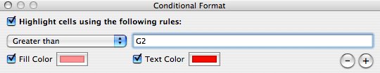Conditional formatting limitations in Numbers